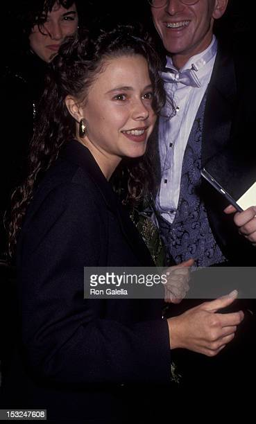 Dana Barron attends the premiere of Six Degrees of Seperation on October 15 1992 at the Doolittle Theater in Hollywood California