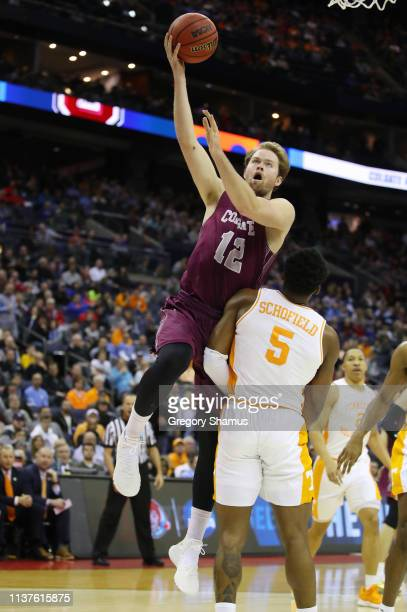 Dana Batt of the Colgate Raiders drives to the basket during the first half against the Tennessee Volunteers in the first round of the 2019 NCAA...