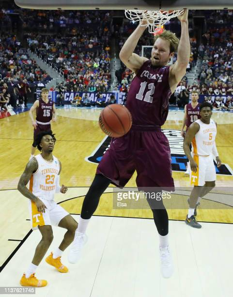 Dana Batt of the Colgate Raiders dunks the ball during the first half against the Tennessee Volunteers in the first round of the 2019 NCAA Men's...