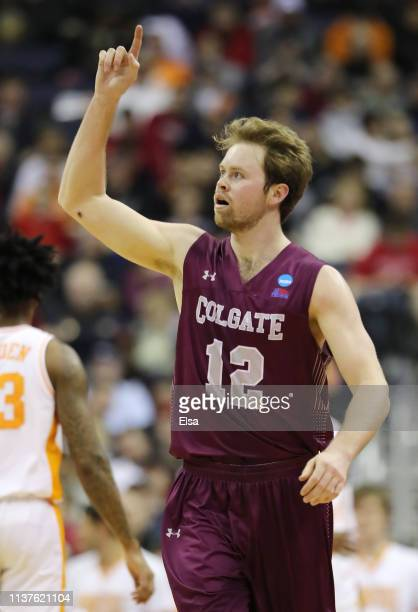 Dana Batt of the Colgate Raiders reacts during the first half against the Tennessee Volunteers in the first round of the 2019 NCAA Men's Basketball...