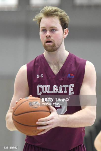 Dana Batt of the Colgate Raiders takes a foul shot during a college basketball game against the American University Eagles at Bender Arena on...