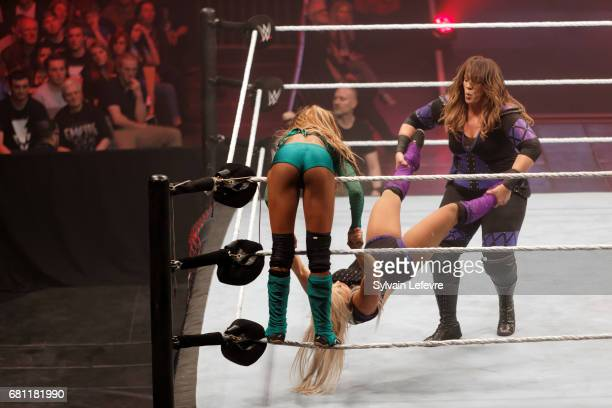 Dana Brooke fights against Alicia Fox and Nia Jax during WWE Live 2017 at Zenith Arena on May 9, 2017 in Lille, France.
