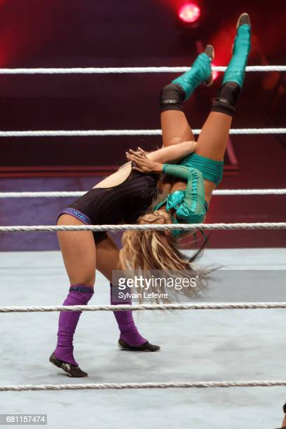 Dana Brooke fights against Alicia Fox during WWE Live 2017 at Zenith Arena on May 9, 2017 in Lille, France.