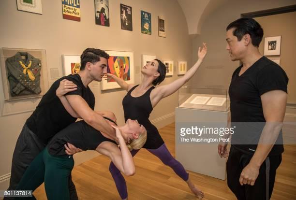 Dana Burgess the resident choreographer of the Nat'l Portrait Gallery poses with his dancers Ian Ceccarelli Sarah Halzack and Christina Arthur is...