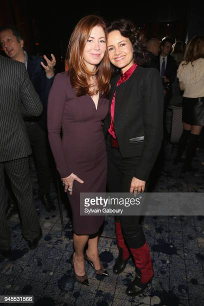 Dana Delany and Carla Gugino attend The Hollywood Reporter's Most Powerful People In Media 2018 at The Pool on April 12 2018 in New York City