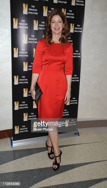 Dana Delany wearing an Yves Saint Laurent dress attends the 2009 The Creative Coalition Annual Membership Meeting at the HBO Terrace on June 18 2009...