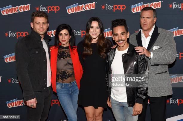 Dana DeLorenzo Lindsay Farris Arielle CarverO'Neill Ray Santiago and Bruce Campbell attend the Ash Vs Evil Dead Panel during 2017 New York Comic Con...
