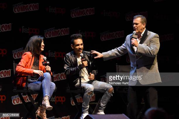 Dana DeLorenzo Ray Santiago and Bruce Campbell speak onstage at the Ash Vs Evil Dead Panel during 2017 New York Comic Con Day 3 on October 7 2017 in...