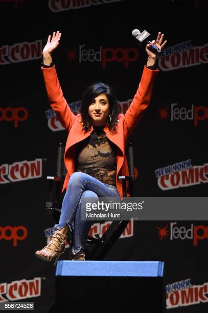 Dana DeLorenzo speaks onstage at the Ash Vs Evil Dead Panel during 2017 New York Comic Con Day 3 on October 7 2017 in New York City