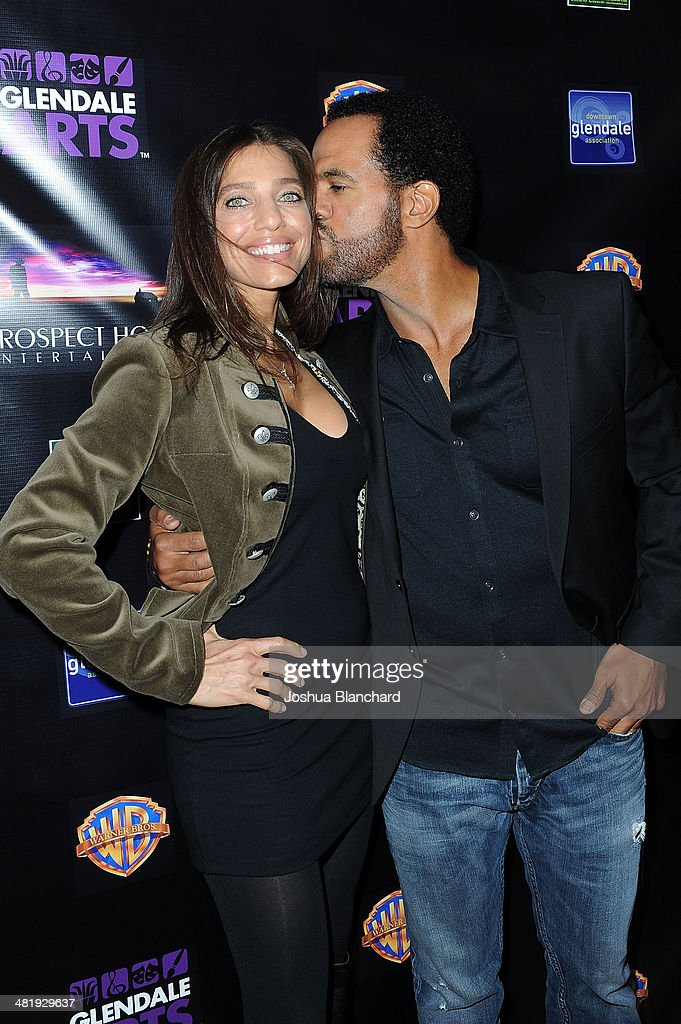 Dana Derrick (L) and Kristoff St. John arrive at the Malcom McDowell series of Q&A screenings presents 'Clockwork Orange' at The Alex Theatre on April 1, 2014 in Glendale, California.