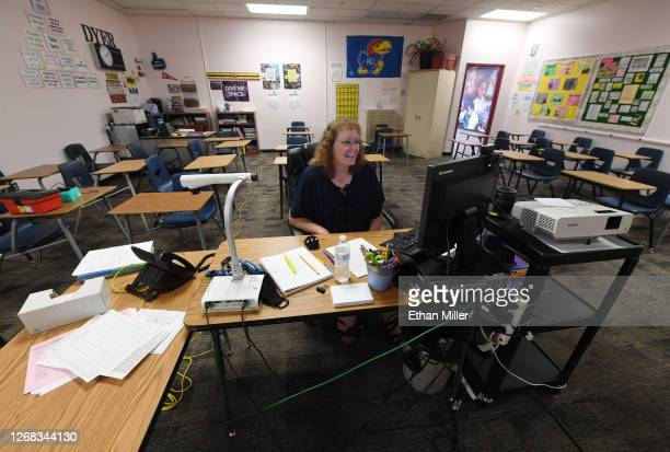 Dana Dyer teaches an online seventh grade algebra class from her empty classroom on the first day of distance learning for the Walter Johnson Junior...