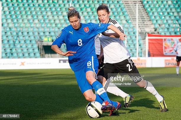 Dana Feckova of Slovakia competes for the ball with Bianca Schmidt of Germany during the FIFA Women's World Cup 2015 Qualifier between Slovakia and...