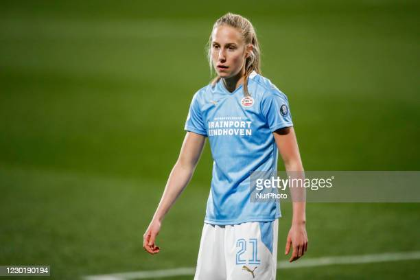 Dana Foederer of PSV during the UEFA Champions League Women match between PSV v FC Barcelona at the Johan Cruyff Stadium on December 16, 2020 in...