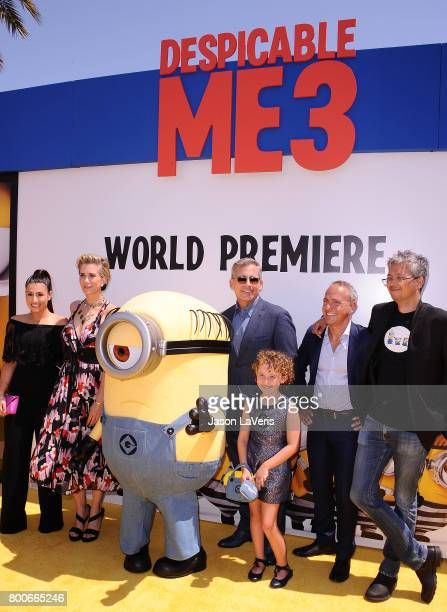 Dana Gaier Kristen Wiig Steve Carell Nev Scharrel Kyle Balda and Pierre Coffin attend the premiere of 'Despicable Me 3' at The Shrine Auditorium on...