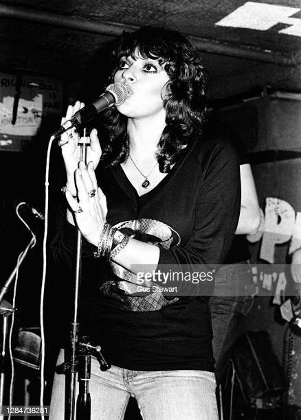 Dana Gillespie performs on stage at the Hope and Anchor pub, Islington, London, England, in 1978.