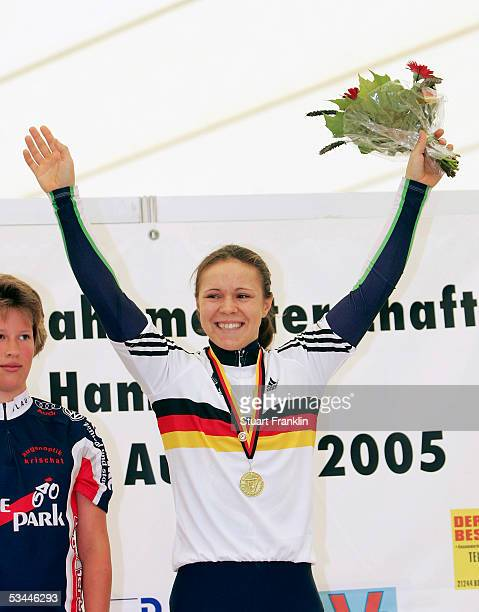 Dana Gloss of RSV Werner Ott poses with her medal from the womens 500m time trial at the German Track Racing Championships on August 21 2005 in...