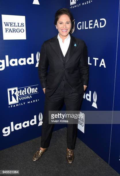 Dana Goldberg poses backstage at the 29th Annual GLAAD Media Awards at The Beverly Hilton Hotel on April 12 2018 in Beverly Hills California