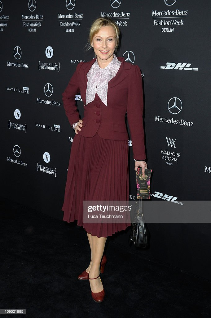 Dana Golombek attends Lena Hoschek Autumn/Winter 2013/14 fashion show during Mercedes-Benz Fashion Week Berlin at Brandenburg Gate on January 15, 2013 in Berlin, Germany.