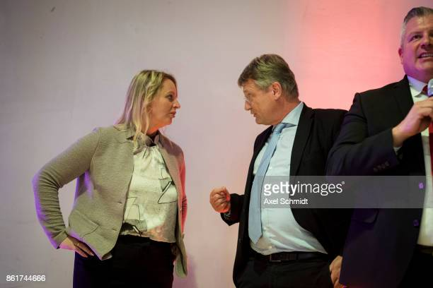 Dana Guth top candidate of Germany's far right AfD party and coleader of Germany's nationalist Alternative for Germany Joerg Meuthen celebrate with...