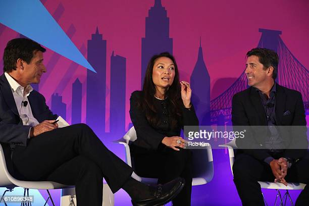 Dana Hayes Louisa Wong and Jim Norton speak onstage at the Ways to Simplify the Ecosystem panel at ADARA Stage at Times Center Hall during 2016...