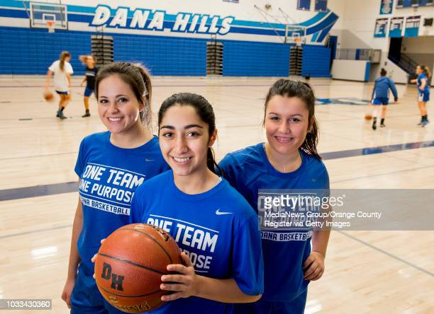 Dana Hills High girls basketball players from left Maddy Bloom Elise Parsaee and Peyton Romo have contributed to the teams success this year under...