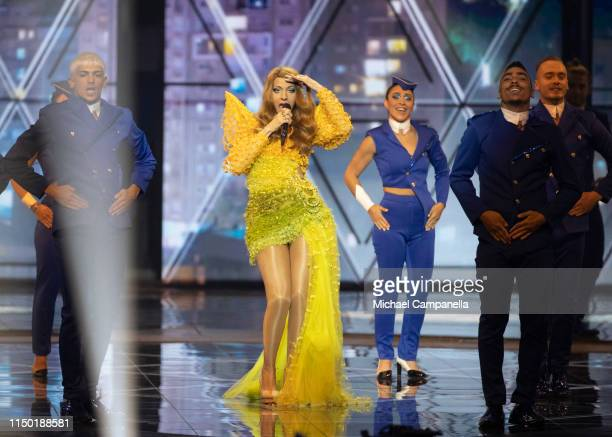 Dana International performs live on stage during the 64th annual Eurovision Song Contest held at Tel Aviv Fairgrounds on May 18 2019 in Tel Aviv...