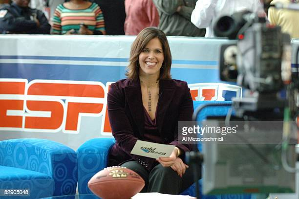 Dana Jacobson during a broadcast of ESPN's Cold Pizza from the Super Bowl XL Media Center at the Renaissance Center in Detroit Michigan on January 30...