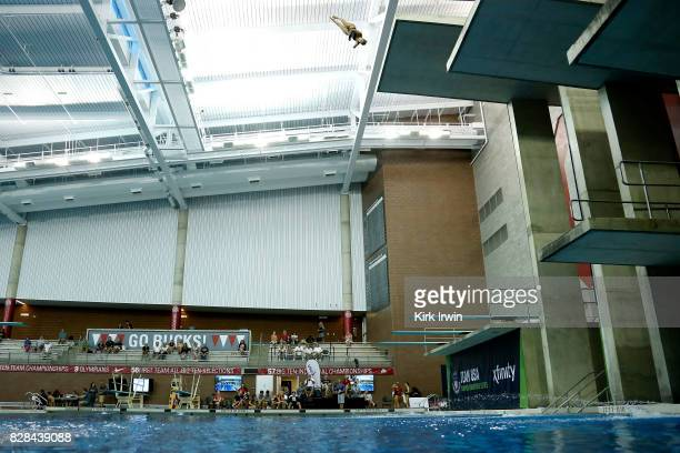 Dana Liva competes during the Senior Women's Platform Semifinal during the 2017 USA Diving Summer National Championships on August 9 2017 in Columbus...