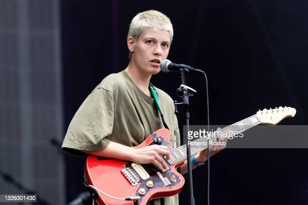 Dana Margolin of Porridge Radio performs on stage at Glasgow Green on September 09, 2021 in Glasgow, Scotland.