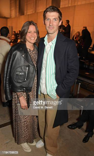 Dana Meyer and Gwilym Lee attend the Hermes Menswear Fall/Winter 20202021 show as part of Paris Fashion Week on January 19 2020 in Paris France