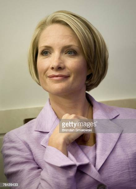 Dana Perino listens in the White House briefing room August 31 2007 in Washington DC Perino will replace Tony Snow who announced his resignation as...