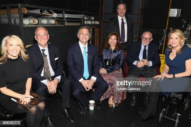 Dana Perino Roger Cohen Douglas Brinkley Jennifer Raab David Frum Ed Rollins and Patricia Duff attend 'Trump Year One' Presidential Panel on January...