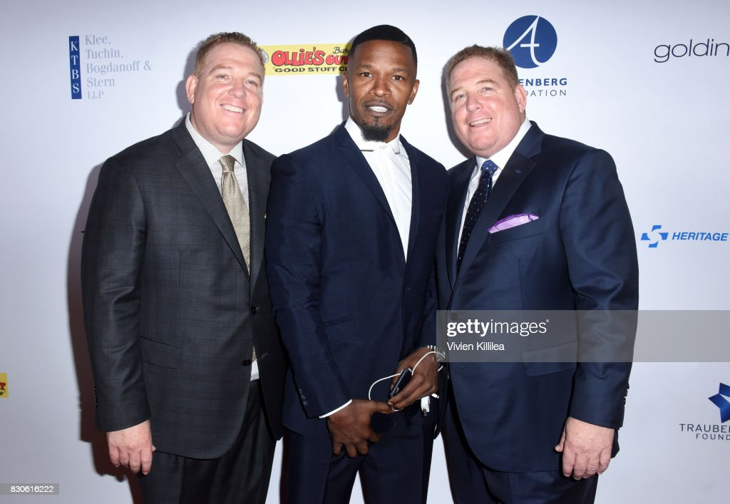 Dana Pump, Jamie Foxx and David Pump attend the 17th Annual Harold & Carole Pump Foundation Gala at The Beverly Hilton Hotel on August 11, 2017 in Beverly Hills, California.