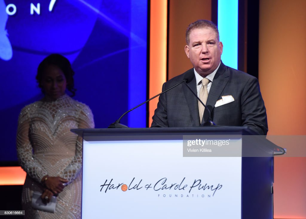 Dana Pump speaks onstage at the 17th Annual Harold & Carole Pump Foundation Gala at The Beverly Hilton Hotel on August 11, 2017 in Beverly Hills, California.