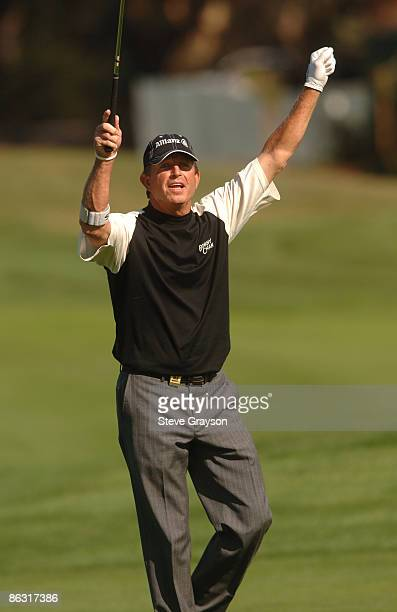 Dana Quigley celebrates holing in for an eagle on the ninth fairway during the third round of the Champions Tour 2005 Charles Schwab Cup Championship...