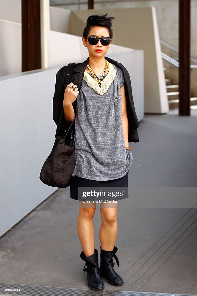 Dana Sampson wears a vintage outfit at Mercedes-Benz Fashion Week Australia Spring/Summer 2013/14 at Carriageworks on April 12, 2013 in Sydney, Australia.