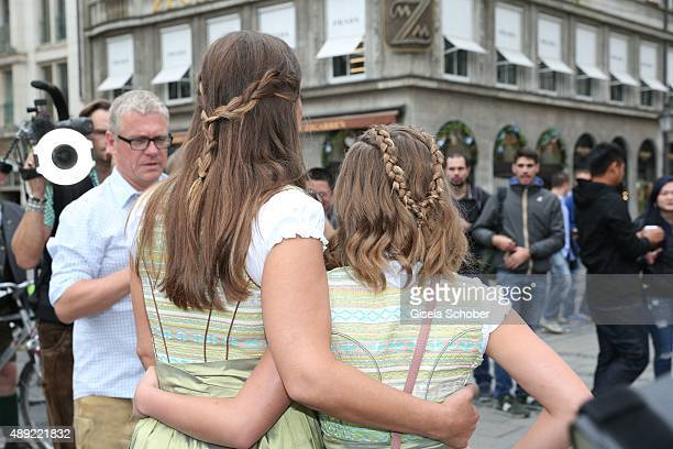 Dana Schweiger and her daughter Emma Schweiger during the 'Fruehstueck bei Tiffany' at Tiffany Store ahead of the Oktoberfest 2015 on September 19...