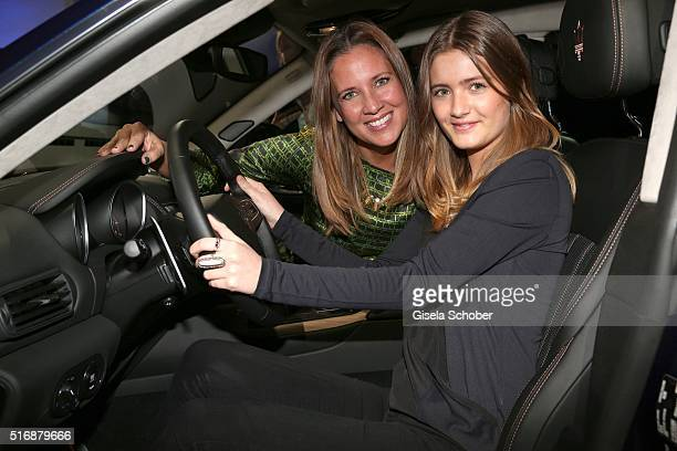 Dana Schweiger and her daughter Lilly Schweiger sit in the car during the Maserati 'Levante' Launch event on March 21 2016 in Frankfurt am Main...