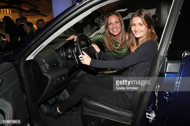 Dana Schweiger and her daughter Lilli Schweiger sit in the car during the Maserati 'Levante' Launch event on March 21 2016 in Frankfurt am Main...