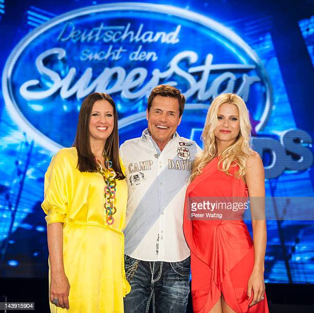 Dana Schweiger Dieter Bohlen and Michelle Hunziker attend the DSDS Kids Jury Photocall at Coloneum on May 05 2012 in Cologne Germany