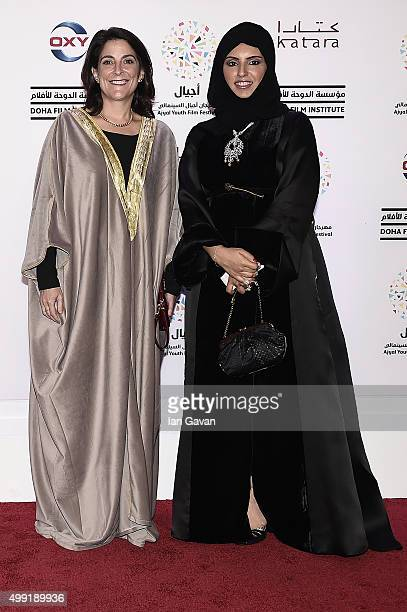 HE Dana Shell Smith US Ambassador and CEO of Doha Film Institute Fatma Al Remaihi on the red carpet at the regional premiere of The Idol co financed...