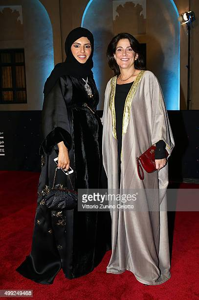 E Dana Shell Smith US Ambassador and CEO of Doha Film Institute Fatma Al Remaihi on the red carpet at the regional premiere of The Idol co financed...