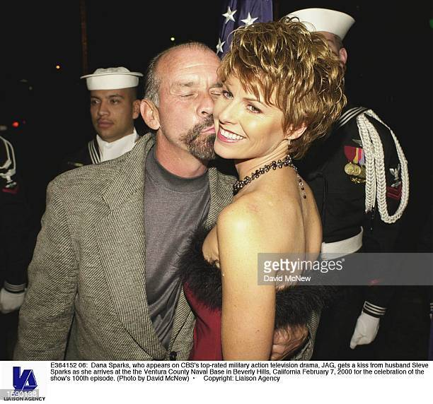 Dana Sparks who appears on CBS's toprated military action television drama JAG gets a kiss from husband Steve Sparks as she arrives at the the...
