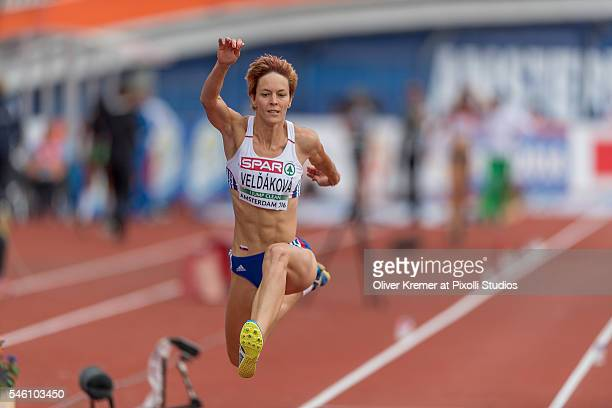 Dana Veldakova of Slovakia pushing forward during the women's triple jump finals at the Olympic Stadium during Day Five of the 23rd European...