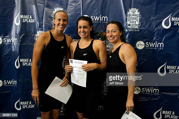 Dana Vollmer Katie Hoff and Ariana Kukors pose for the high point award during the Long Beach Grand Prix on January 18 2010 in Long Beach California