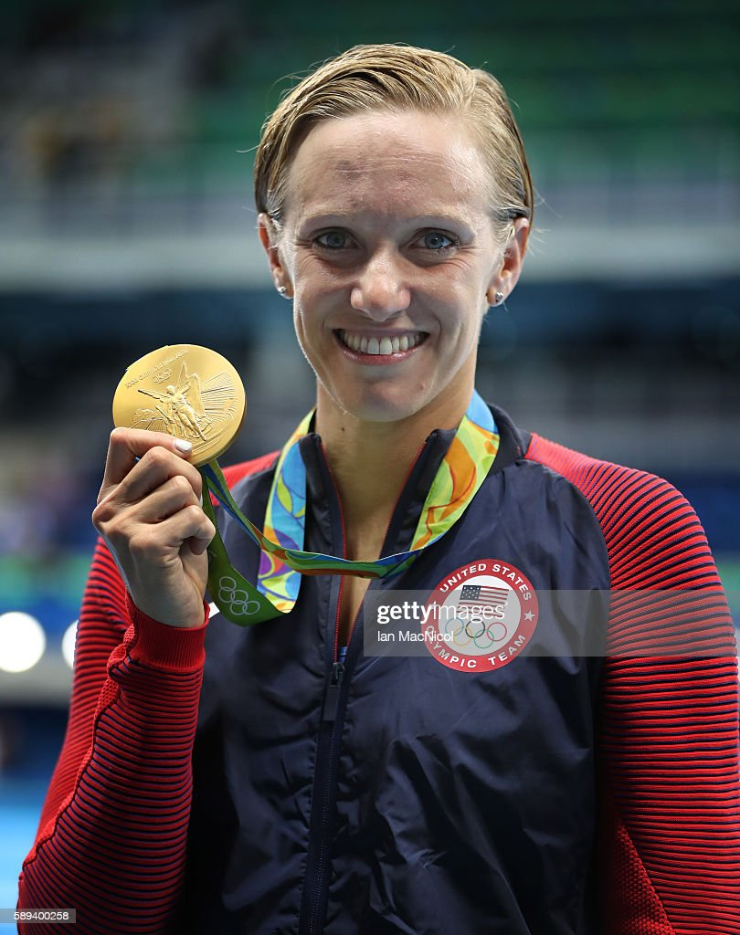 Dana Volmer of United States poses with her Gold medal from the Women's 4x100m Medely Relay on Day 8 of the Rio 2016 Olympic Games at the Olympic Aquatics Stadium on August 13, 2016 in Rio de Janeiro, Brazil.