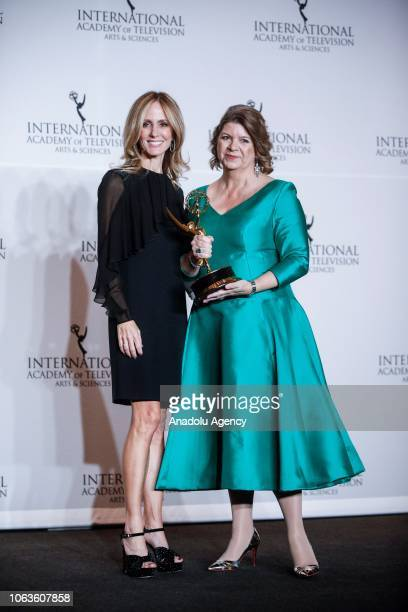 Dana Walden and Sophie Turner Laing give a pose with their award during the 46th International Emmy Awards at New York Hilton on November 19 2018 in...