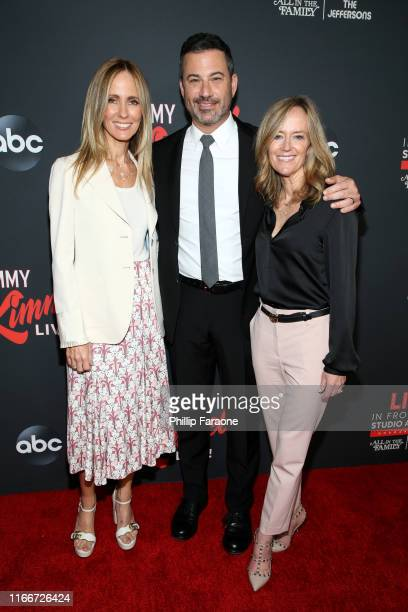 Dana Walden Jimmy Kimmel and Karey Burke attend an evening with Jimmy Kimmel at Hollywood Roosevelt Hotel on August 07 2019 in Hollywood California