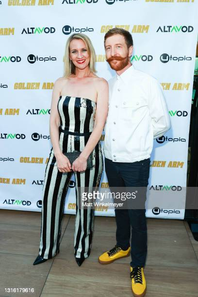 """Dana Weddle attends Utopia Films presents """"Golden Arm"""" premiere at Palm Sophia Rooftop on April 30, 2021 in Culver City, California."""