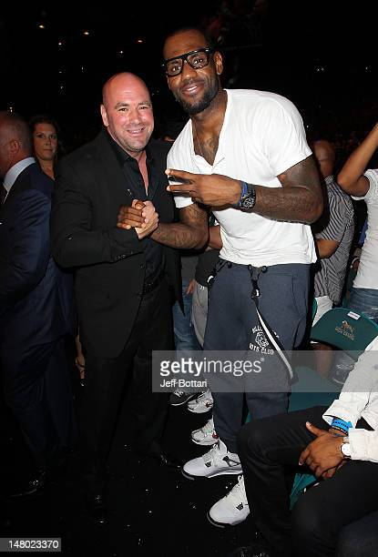 Dana White and LeBron James in attendance during UFC 148 inside MGM Grand Garden Arena on July 7 2012 in Las Vegas Nevada